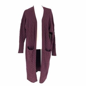 14th and Union Purple Knit Open Front Cardigan